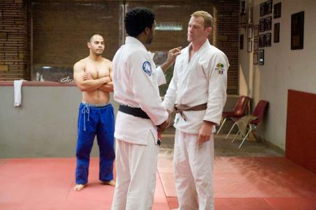 Max Martini Left to Right: Jose Pablo Cantillo as Snowflake, Chewitel Ejiofor as Mike Terry,  as Joe Collins. Photo by Lorey Sebastian, © The Redbelt Company, LLC, courtesy Sony Pictures Classics. All Rights Reserved.