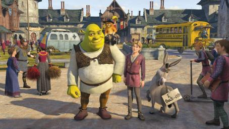 Puss in Boots Shrek (voiced by Mike Myers), Puss-in-Boots (voiced by Antonio Banderas), Artie (voiced by Justin Timberlake), and Donkey (voiced by Eddie Murphy) in DreamWorks Animation's Shrek the Third - 2007