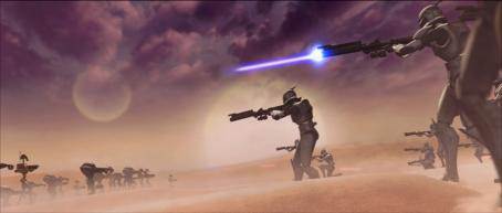 Star Wars: The Clone Wars Clone Trooper soldiers face off against an army of battle droids in a scene from the upcoming , the first-ever animated Star Wars project from Lucasfilm Animation and Star Wars creator George Lucas.  will