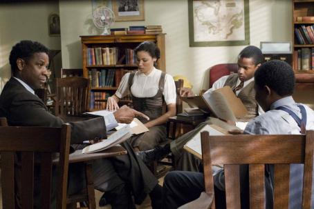 Nate Parker Denzel Washington (Mel Tolson), Jurnee Smollett (Samantha),  (Henry Low) and Denzel Whitaker (James Farmer Jr) star in Denzel Washington's The Great Debaters. Photo Credit: David Lee. © 2007 The Weinstein Company, LLC. All Rights Reserved.