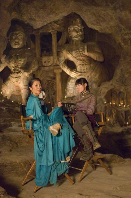 Michelle Yeoh  and Isabella Leong behind the scene from Universal Pictures' The Mummy: Tomb of the Dragon Emperor.