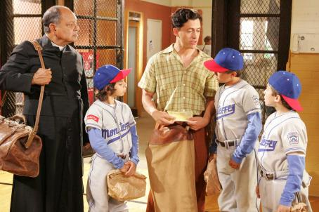 Moises Arias Padre Esteban (Cheech Marin, left), Mario (), Cesar (Clifton Collins Jr.), Enrique (Jansen Panettiere) and Norberto (Ryan Ochoa) in THE PERFECT GAME. Photo credit: Vivian Zink.