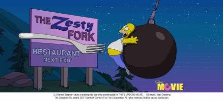 The Simpsons Movie Homer Simpson takes a relaxing ride aboard a wrecking ball in THE SIMPSONS MOVIE. Still credit: Matt Groening