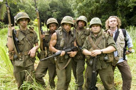 "Brandon T. Jackson (Left to right) In the action comedy ""Tropic Thunder,"" a group of actors shooting a war movie includes novice thesp Sandusky (Jay Baruchel), rap star Alpa Chino (), pampered action superstar Tugg Speedman (Ben Stiller), Kirk"
