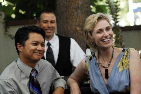 Jane Lynch Alec Mapa as Mr. Bushnell and  as Ms. Maple in TRU LOVED.