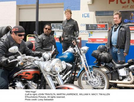 Wild Hogs (left to right) John Travolta, Martin Lawrence, William H. Macy and Tim Allen in . Photo credit: Lorey Sebastian. © Touchstone Pictures. All right reserved.