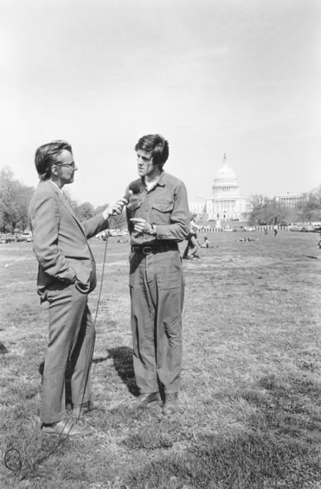 John Kerry Correspondent Bruce Morton interviews  during the Vietnam Veterans Against the War protests in Washington, DC. April, 1971 Photo credit: George Butler