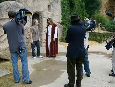 Bill Maher  (background) and Larry Charles (foreground, back to camera) on location at The Holy Land Experience in Orlando, FL during production for RELIGULOUS. Photo credit: Alexandra Lambrinidis