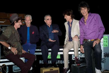 "Martin Scorsese (Left to right) Keith Richards, Charlie Watts, Director , Mick Jagger and Ronnie Wood backstage during filming of the Rolling Stones concert film ""Shine a Light."" Photo Credit: Brigitte Lacombe. © 2007 by Brigitte Lacombe. All R"