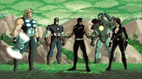 Ultimate Avengers II B Panther and group in Ultimate Avengers 2: Rise of the Panther - 2006