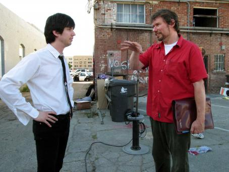 Jon Heder  with director Tim Hamilton on the set of MAMA'S BOY, a Warner Independent Pictures release. Photo by Darren Michaels