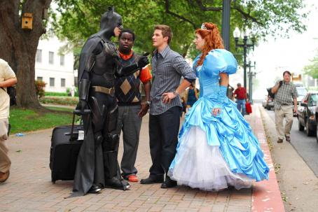 Ike Barinholtz Batman (), Calvin (Gary 'G-Thang' Johnson), Will (Matt Lanter) and Enchanted Princess (Nicole Parker) in DISASTER MOVIE. Photo credit: Jon Barren Farmer