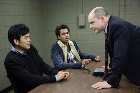 "Rob Corddry John Cho (left) and Kal Penn (center) are ""Harold"" and ""Kumar"",  stars as ""Dr. Beecher"" in New Line Cinema's upcoming release HAROLD AND KUMAR ESCAPE FROM GUANTANAMO BAY. Photo Credit: Jaimie Trueblood/"