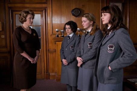 Carey Mulligan Left to Right: Emma Thompson as Headmistress, Ellie Kendrick as Tina, Amanda Fairbank-Hynes as Hattie, and  as Jenny. Photo taken by Kerry Brown, ©Courtesy of Sony Pictures Classics. All Rights Reserved.