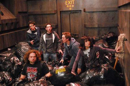 Jay Baruchel  (Windows), Dan Fogler (Hutch), Chris Marquette (Linus), Sam Huntington (Eric) and Kristen Bell (Zoe) star in Kyle Newman's Fanboys. Photo by: John Estes. © 2006 The Weinstein Company, LLC. All Rights Reserved.