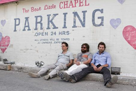 Ed Helms (L-r) ED HELMS as Stu, ZACH GALIFIANAKIS as Alan and BRADLEY COOPER as Phil in Warner Bros. Pictures' and Legendary Pictures' comedy 'The Hangover,' distributed by Warner Bros. Pictures. Photo by Frank Masi