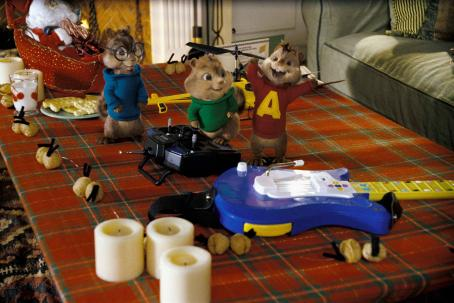 Alvin and the Chipmunks Alvin, Theodore and Simon revel in holiday excitement, food and toys. Photo credit: Rhythm & Hues.  and Characters TM & © 2007 Bagdasarian Productions, LLC. All rights reserved.