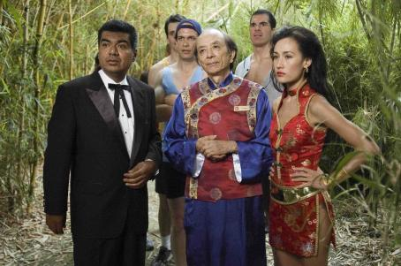 Brandon Molale L to R: George Lopez, Diedrich Bader, James Hong,  and Maggie Q in a scene of Balls of Fury - 2007