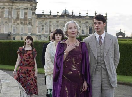 Felicity Jones  as Cordelia Flyte, Hayley Atwell as Julia Flyte, Emma Thompson as Lady Marchmain and Matthew Goode as Charles Ryder. Photo credit: Nicola Dove/Miramax Films