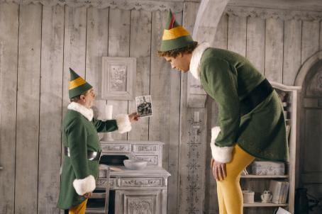 "Bob Newhart  (left) as ""Papa Elf"" and Will Ferrell (right) as ""Buddy"" in New Line Cinema's upcoming film Elf."