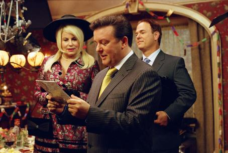 For Your Consideration Jennifer Coolidge as Whitney Taylor Brown, Ricky Gervais as Martin Gibb and Larry Miller as Syd Finkleman in director Christopher Guest's . Photo credit: Suzanne Tenner © 2006 Shangri-La Entertainment, LLC.