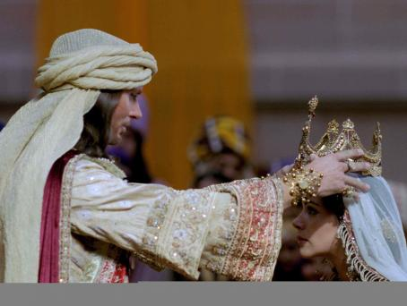 Luke Goss  as King Xerxes and Tiffany Dupont star as Queen Esther in One Night with the King - 2006.