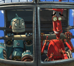 Robots Left: Rodney Copperbottom (voiced by Ewan McGregor); Right: Fender (voiced by Robin Williams).