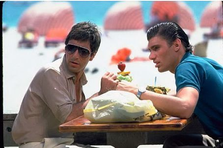 Tony Montana  (Al Pacino) and Manny Ribera (Steven Bauer) in Scarface