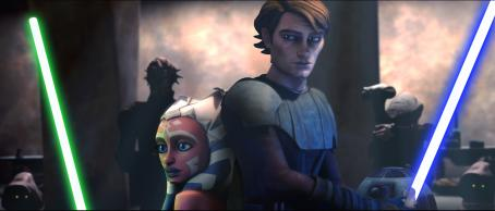 Ashley Eckstein Padawan learner Ahoska and Jedi mentor Anakin Skywalker find themselves in a perilous situation in a still from the upcoming Star Wars: The Clone Wars. The first animated project from George Lucas and Lucasfilm Animation will be released theatrically by W
