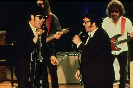 John Belushi Dan Aykroyd and  in comedy movie The Blues Brothers