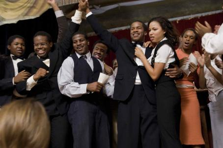 Nate Parker From left to right, James Farmer Jr. (DENZEL WHITAKER), Burgess (JERMAINE WILLIAMS), unknown extra as a Wiley College student, Lowe (NATE PARKER), Samantha (JURNEE SMOLLETT), unknown extra as Wiley College student-- Wiley College beats Paul Quinn-- their
