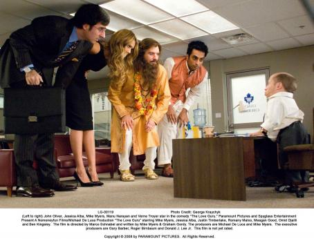 "Verne Troyer (Left to right) John Oliver, Jessica Alba, Mike Myers, Manu Narayan and  star in the comedy ""The Love Guru."" Photo Credit: George Kraychyk. Copyright © 2008 by PARAMOUNT PICTURES. All Rights Reserved."