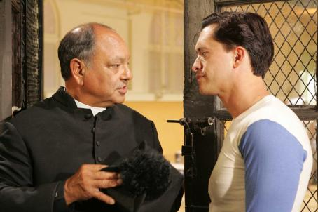 Cheech Marin Padre Esteban (, left) and Cesar (Clifton Collins Jr.) in THE PERFECT GAME. Photo credit: Vivian Zink.