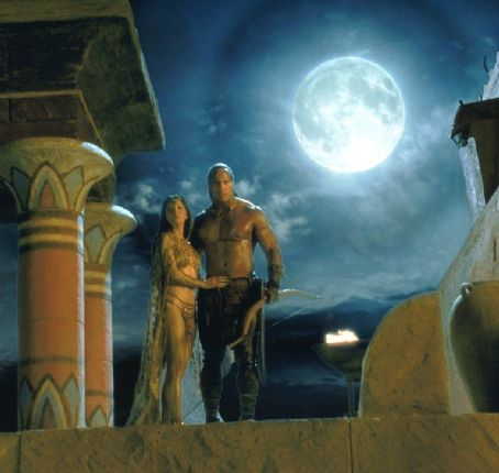 Cassandra Kelly Hu and The Rock in Universal's The Scorpion King - 2002