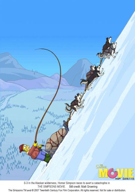 The Simpsons Movie In the Alaskan wilderness, Homer Simpson races to avert a catastrophe in THE SIMPSONS MOVIE. Still credit: Matt Groening