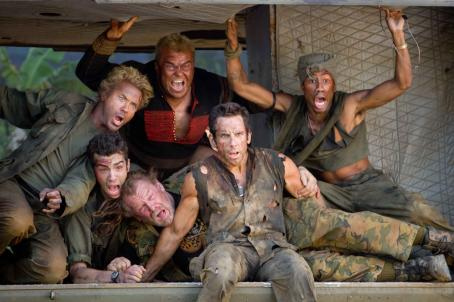 "Brandon T. Jackson (Left to right) In the action comedy ""Tropic Thunder,"" a group of actors shooting a war movie includes Kirk Lazarus (Robert Downey Jr.), an over-the-top Australian-born method actor who has gone to extremes to get into character, novice thesp"