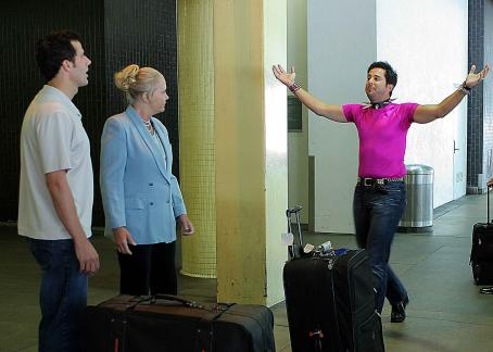 Sally Kirkland Todd (Jonathan Bray), Mrs. Muller () and Barry (Jonathan Silverman) in Coffee Date.