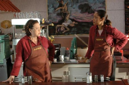 Amy Hill as Maria and Gina Torres as Carla in Ernst Gossner 'South of Pico.'