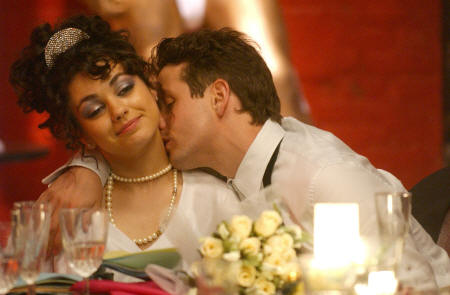 Joey McIntyre Mila Kunis as Tina and  as Tony in Tony 'n' Tina's Wedding.