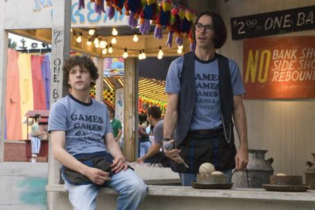 Jesse Eisenberg  as James Brennan and Martin Starr as Joel Schiffman in Miramax Films' Adventureland.