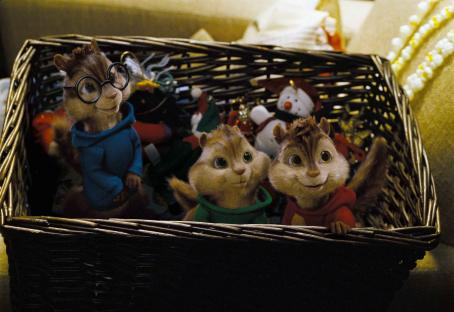 Alvin and the Chipmunks Comfortably ensconced in their home-within-a-home, Alvin, Theodore and Simon eagerly await their holiday treats. Photo credit: Rhythm & Hues.  and Characters TM & © 2007 Bagdasarian Productions, LLC. All rights reserved.