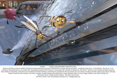 "Chris Rock (Right to left) Barry B. Benson (JERRY SEINFELD) and Mooseblood the mosquito (CHRIS ROCK) encounter that big city hazard – windshield washer fluid – in DreamWorks' ""Bee Movie,"" to be released by Paramount Pictures in November"
