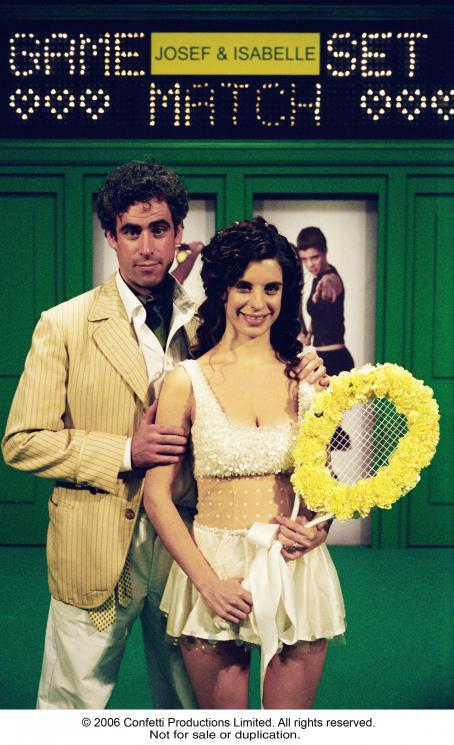 Confetti R-L:  Meredith MacNeill and Stephen Mangan in CONFETTI. Photo Credit: Robert Goldstein