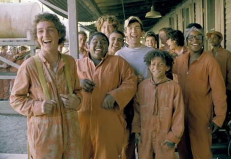"Holes In order ""to build character,"" the boys at Camp Green Lake – (left to right) Stanley (Shia LaBeouf), Armpit (Byron Cotton), ZigZag (Max Kasch), Magnet (Miguel Castro), Squid (Jake M. Smith), Zero (Khleo Thomas), and X-Ray (Brenden Jeffer"