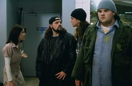 Kevin Smith Shannen Doherty (Rene Mosier),  (Bob Silent), Jason Mewes (Jay), and Ethan Suplee (Willam Black) in Gramercy Pictures' 1995 comedy Mallrats