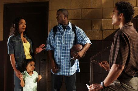 Rick Fox Brenda (Angela Bassett, left), Lena (Mariana Tolbert), Michael (Lance Gross) and Harry (, right) in TYLER PERRY'S MEET THE BROWNS. Photo Credit: Alfeo Dixon
