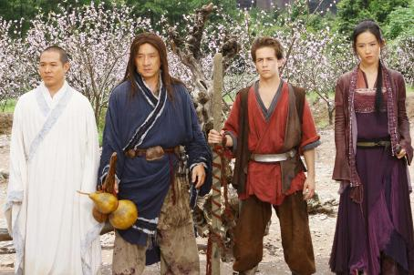 The Forbidden Kingdom Silent Monk (Jet Li, left), Lu Yan (Jackie Chan), Jason Tripitikas (Michael A. Angarano) and Golden Sparrow (Crystal Liu) in THE FORBIDDEN KINGDOM. Photo credit: Chan Kam Chuen.