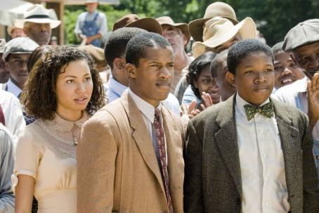 Nate Parker Jurnee Smollett (Samantha),  (Henry Lowe), and Denzel Whitaker (James Farmer Jr) star in Denzel Washington's The Great Debaters. Photo by: David Lee/TWC 2007.