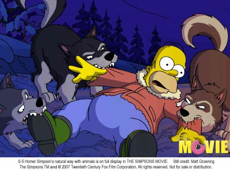 The Simpsons Movie Homer Simpson's natural way with animals is on full display in THE SIMPSONS MOVIE. Still credit: Matt Groening