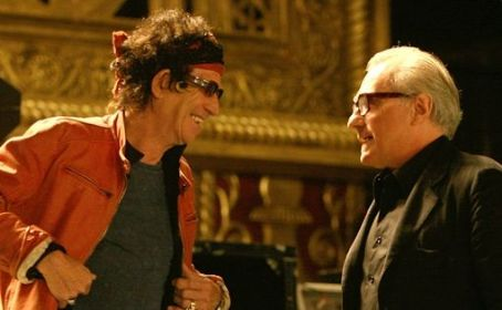 Martin Scorsese Keith Richards and  in the scene of music documentary 'Shine a Light,' Paramount Vantage release.